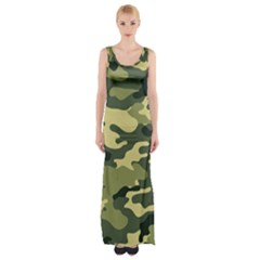 Camouflage Camo Pattern Maxi Thigh Split Dress