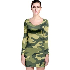 Camouflage Camo Pattern Long Sleeve Velvet Bodycon Dress
