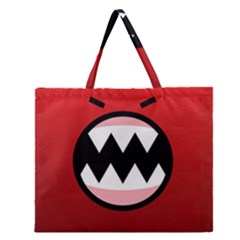 Funny Angry Zipper Large Tote Bag