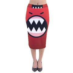 Funny Angry Velvet Midi Pencil Skirt