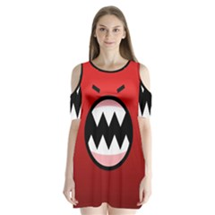 Funny Angry Shoulder Cutout Velvet  One Piece