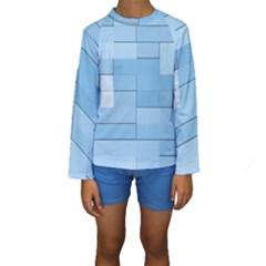 Blue Squares Iphone 5 Wallpaper Kids  Long Sleeve Swimwear