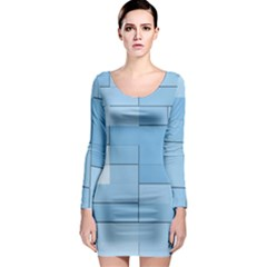 Blue Squares Iphone 5 Wallpaper Long Sleeve Bodycon Dress