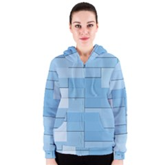 Blue Squares Iphone 5 Wallpaper Women s Zipper Hoodie