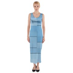 Blue Squares Iphone 5 Wallpaper Fitted Maxi Dress