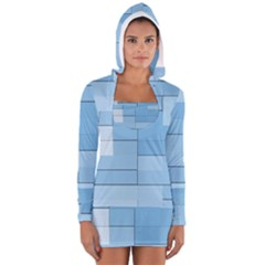 Blue Squares Iphone 5 Wallpaper Women s Long Sleeve Hooded T-shirt