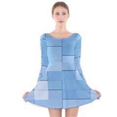 Blue Squares Iphone 5 Wallpaper Long Sleeve Velvet Skater Dress