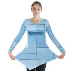 Blue Squares Iphone 5 Wallpaper Long Sleeve Tunic