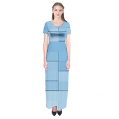 Blue Squares Iphone 5 Wallpaper Short Sleeve Maxi Dress