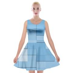 Blue Squares Iphone 5 Wallpaper Velvet Skater Dress