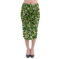 Camo Pattern Midi Pencil Skirt