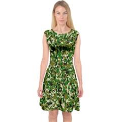Camo Pattern Capsleeve Midi Dress