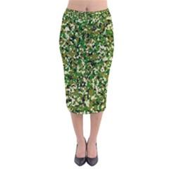 Camo Pattern Velvet Midi Pencil Skirt