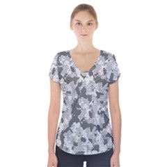 Camouflage Patterns Short Sleeve Front Detail Top