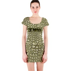 Aligator Skin Short Sleeve Bodycon Dress