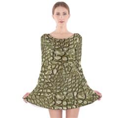 Aligator Skin Long Sleeve Velvet Skater Dress