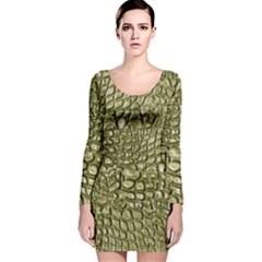 Aligator Skin Long Sleeve Velvet Bodycon Dress