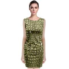 Aligator Skin Sleeveless Velvet Midi Dress