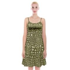 Aligator Skin Spaghetti Strap Velvet Dress