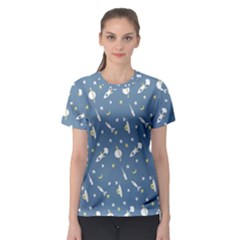 Space Rockets Pattern Women s Sport Mesh Tee