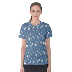 Space Rockets Pattern Women s Cotton Tee