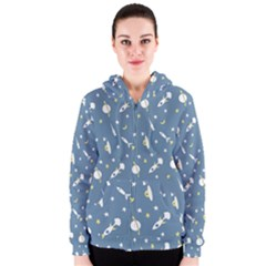 Space Rockets Pattern Women s Zipper Hoodie