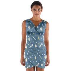 Space Rockets Pattern Wrap Front Bodycon Dress