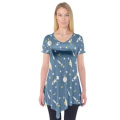 Space Rockets Pattern Short Sleeve Tunic
