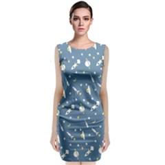 Space Rockets Pattern Sleeveless Velvet Midi Dress