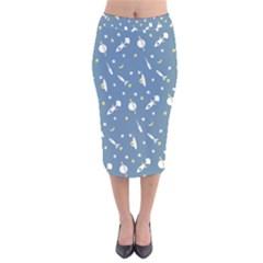 Space Rockets Pattern Velvet Midi Pencil Skirt