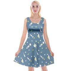 Space Rockets Pattern Reversible Velvet Sleeveless Dress
