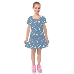 Space Rockets Pattern Kids  Short Sleeve Velvet Dress