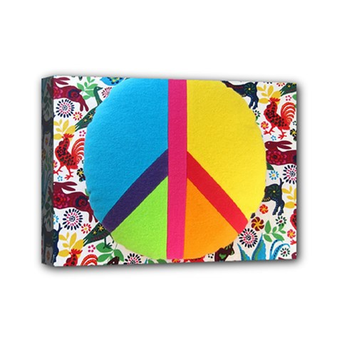 Peace Sign Animals Pattern Mini Canvas 7  x 5