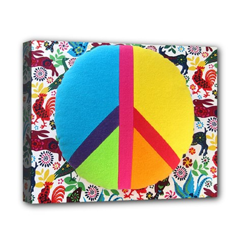 Peace Sign Animals Pattern Canvas 10  X 8