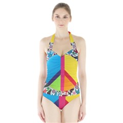 Peace Sign Animals Pattern Halter Swimsuit