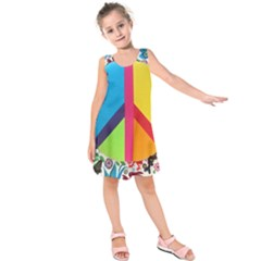 Peace Sign Animals Pattern Kids  Sleeveless Dress