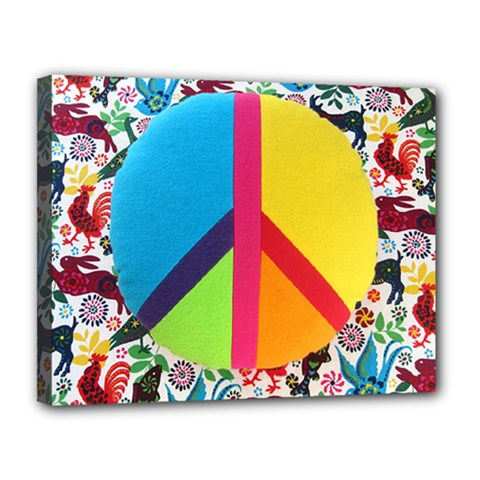 Peace Sign Animals Pattern Canvas 14  X 11