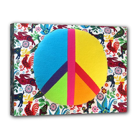 Peace Sign Animals Pattern Canvas 16  X 12