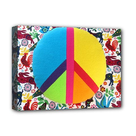 Peace Sign Animals Pattern Deluxe Canvas 16  X 12