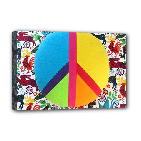 Peace Sign Animals Pattern Deluxe Canvas 18  X 12
