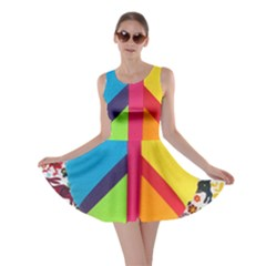 Peace Sign Animals Pattern Skater Dress