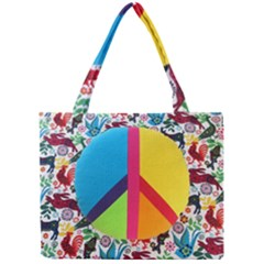 Peace Sign Animals Pattern Mini Tote Bag
