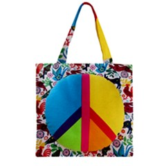 Peace Sign Animals Pattern Zipper Grocery Tote Bag
