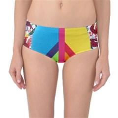 Peace Sign Animals Pattern Mid Waist Bikini Bottoms
