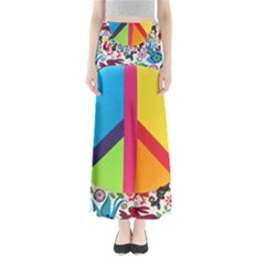 Peace Sign Animals Pattern Full Length Maxi Skirt
