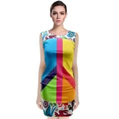 Peace Sign Animals Pattern Classic Sleeveless Midi Dress