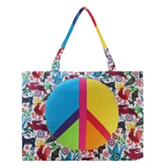 Peace Sign Animals Pattern Medium Tote Bag