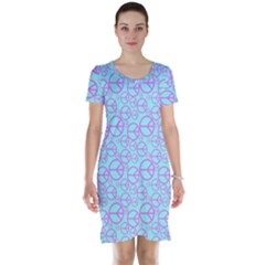 Peace Sign Backgrounds Short Sleeve Nightdress