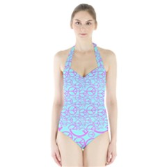 Peace Sign Backgrounds Halter Swimsuit