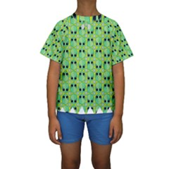 Alien Pattern Kids  Short Sleeve Swimwear